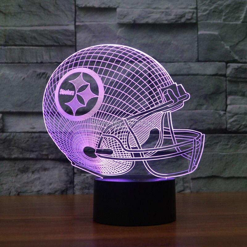 Pittsburgh Steelers American football helmet shape 3D led logo light on helmet  Slong light gifts