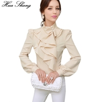 Fashion Elegant Stand Collar Long Sleeve Ruffles Blouse Women OL Work Wear Office Formal Shirt Lantern Sleeve Tunic Women Tops
