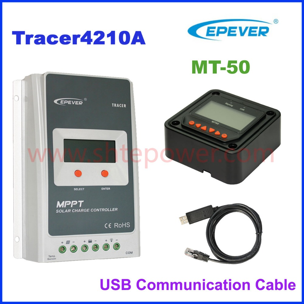 4210A MPPT 40A Solar Charger Controller LCD 12V 24V Auto EPEVER Tracer4210A Regulador Solar with MT50 2400W 100V Solar Panel nv q4500w 20a intelligent dual solar power transfer controller regulador solar dual for 12v 24v solar power system 110v 220 240v