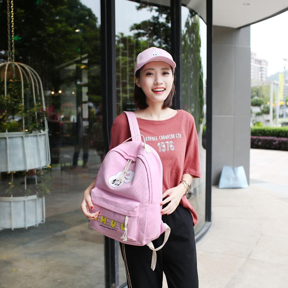 4Pcs Sets Girls Backpacks Cartoon Rabbit Printing School Backpack Cute  Canvas Schoolbags for Teenage Women Students Bag Children 2587624b604ac