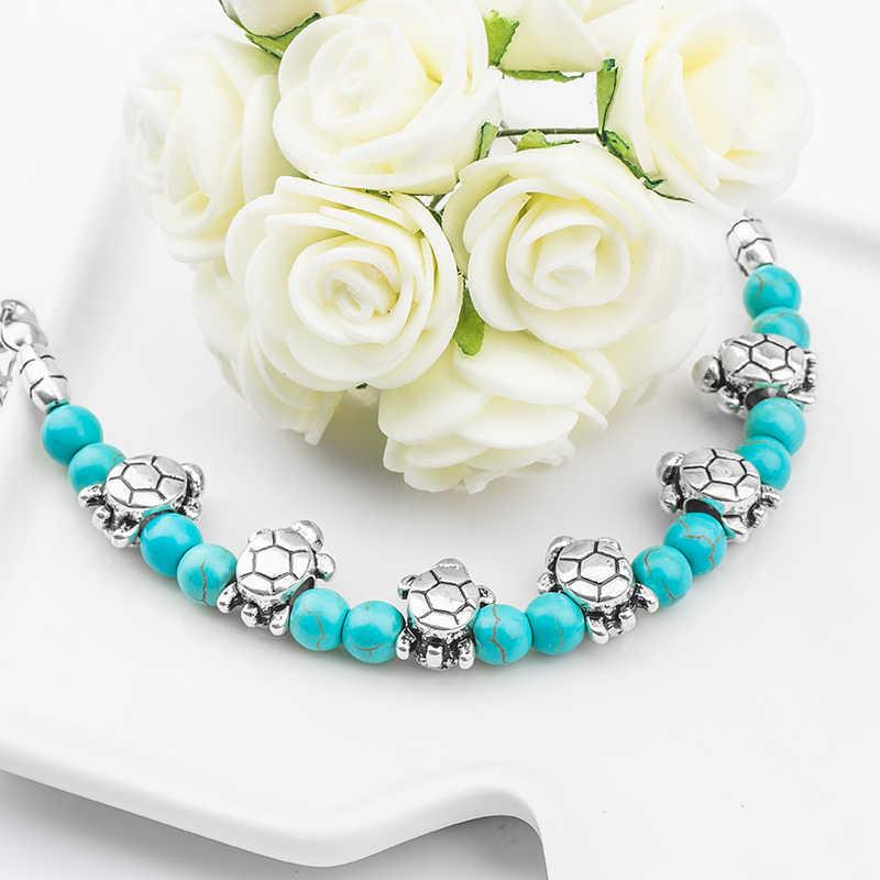 H: hído moda Bohemia elegante brillante Linda tortuga cuentas de piedra Natural encantadora pulsera hecha a mano accesorios joyería de moda