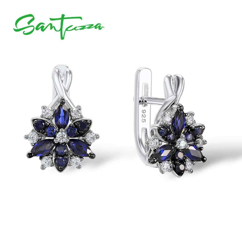 ... Santuzza Silver Stud Earrings for Women Blue Stone White Cubic Zirconia  Ladies Pure 925 Sterling Silver ...