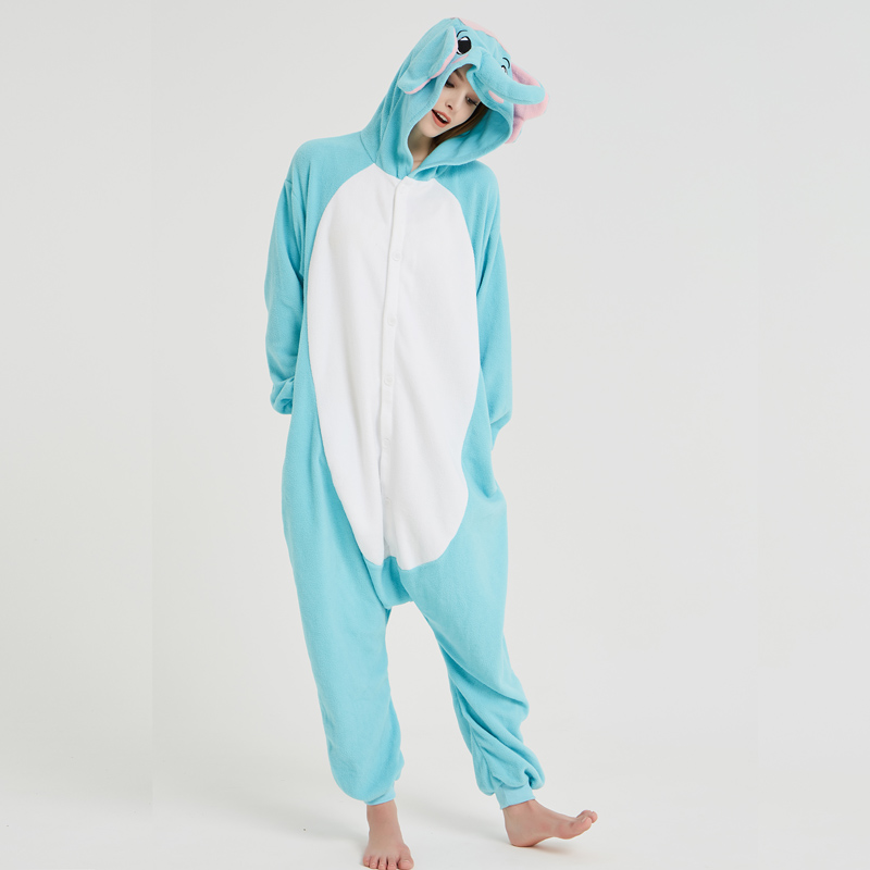 Elephant Adult Pajamas Polar Fleece Onesies Kigurumi For Halloween Pink One-piece Jumpsuit Siamese Cosplay Custome (5)