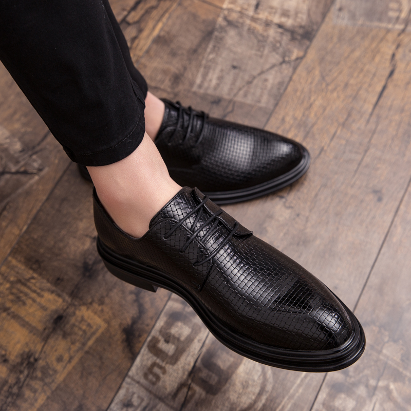 Men genuine Leather Dress Shoes outdoor Pointed Toe Business Formal Men Office Lace up Oxford Shoes Form Men Dating Dress Shoes