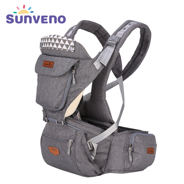 New Upgraded SUNVENO Baby Carrier Front Facing Hipseat Infant Baby Sling Backpack Pouch Wrap Baby Kangaroo for Baby 0-36 Months
