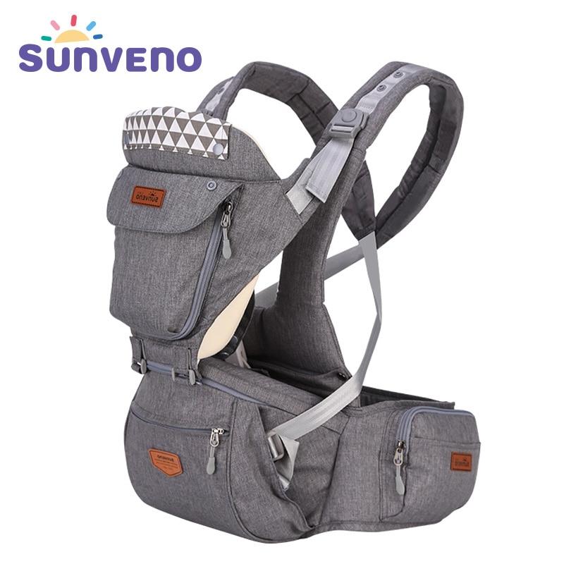 купить SUNVENO Ergonomic Baby Carrier Infant Baby Hipseat Sling Front Facing Kangaroo Baby Wrap Carrier for Baby Travel 0-36 Months недорого