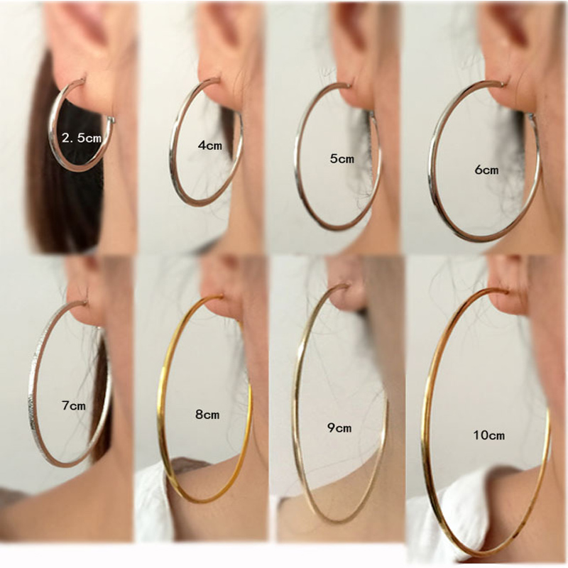 2018 Black Silver Gold Color Hoop Earrings Big Smooth Circle Earrings Stainless Steel Loop Earrings For Women Brincos Pendientes