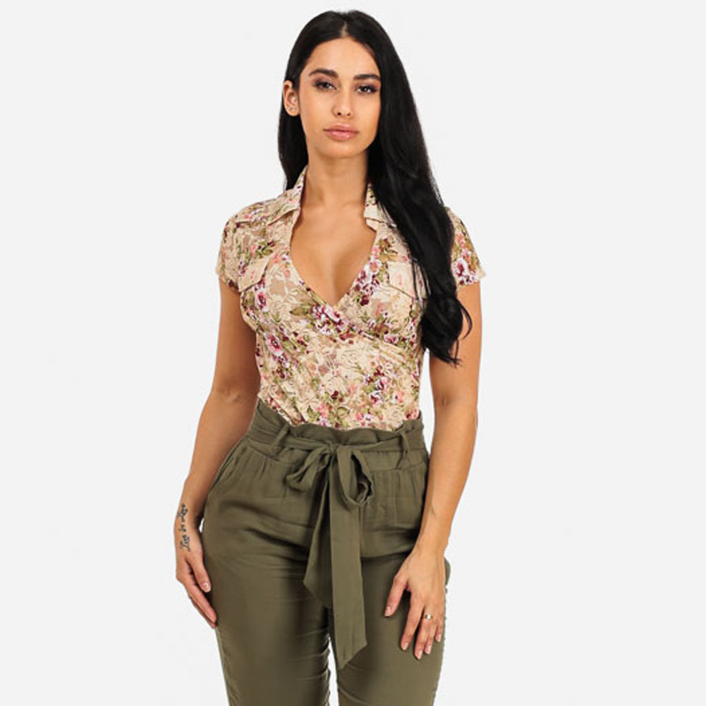 New Style Sexy Flower Beige Tops Vintage Print Women V-neck Short Sleeve Blouses Casual Street Top