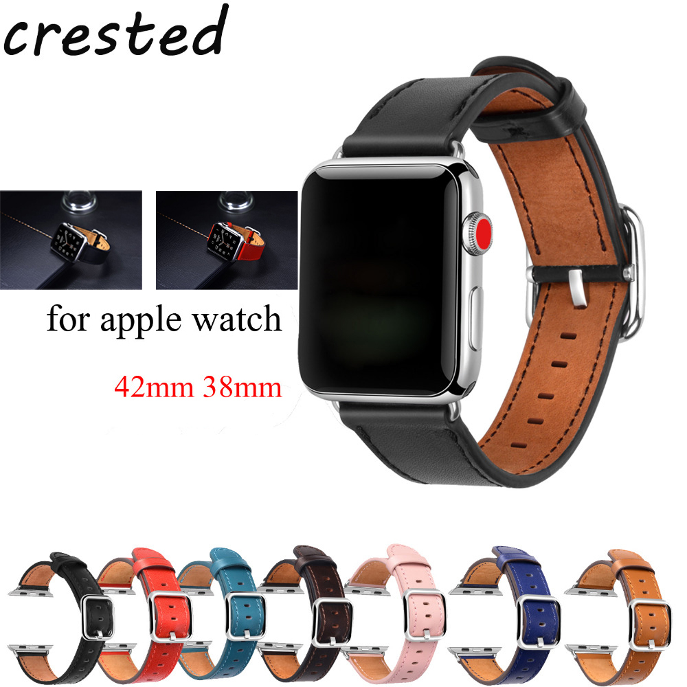 CRESTED Genuine Leather strap for apple watch band 42mm 38mm Classic Buckle belt bracelet watchband for iwatch 3/2/1 watch strap crested genuine leather strap for samsung gear s3 watch band wrist bracelet leather watchband metal buck belt