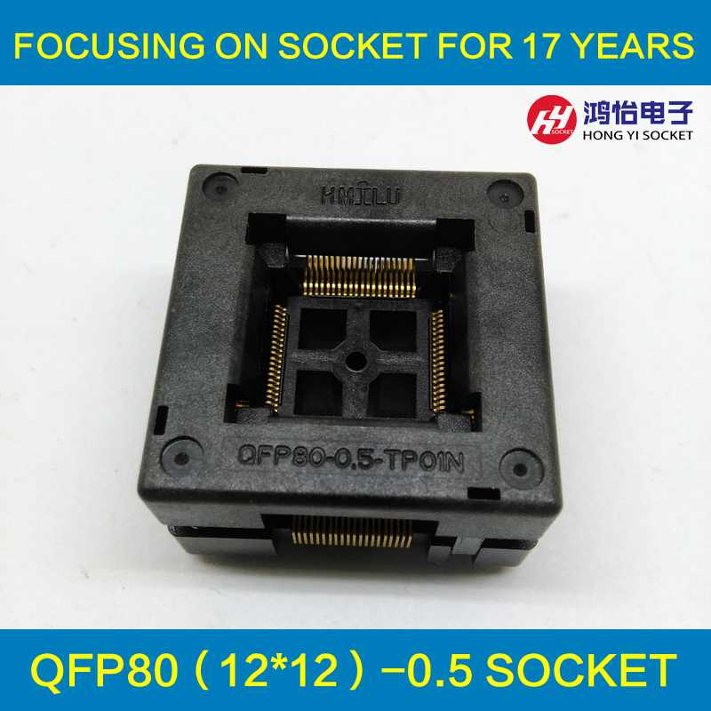 TQFP80 FQFP80 QFP80 Burn in Socket OTQ-80-0.5-02B Pitch 0.5mm IC Body Size 12x12mm Test Adapter qfp176 tqfp176 lqfp176 burn in socket pitch 0 5mm ic body size 24x24mm otq 176 0 5 06 test socket adapter