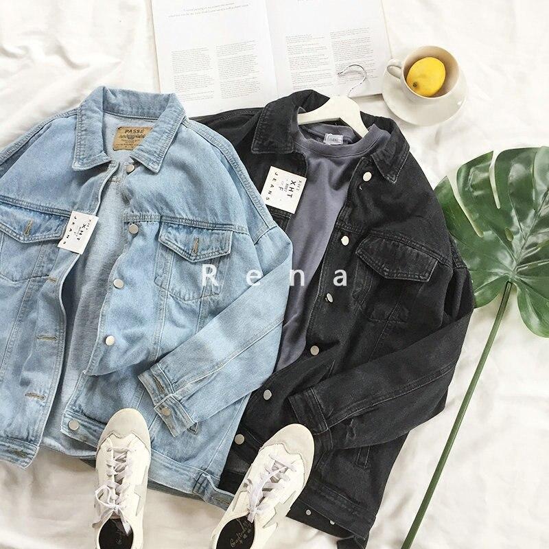 Spring Vintage Women Black Denim Jacket Long Sleeve Loose Autumn Basic Jean Jackets Coat With 4 Pocket