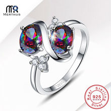 Women Ladies Vintage Huge 3.1CT Oval Cut 2-Stone Mystic Rainbow CZ 100% 925 Sterling Silver Ring Size 6 7 8 9 With Jewlery Box