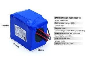 Image 3 - VariCore 12V 20Ah high power 100A entladung akku BMS schutz 4 linie ausgang 500W 800W 18650 batterie + 12,6 V 3A Ladegerät