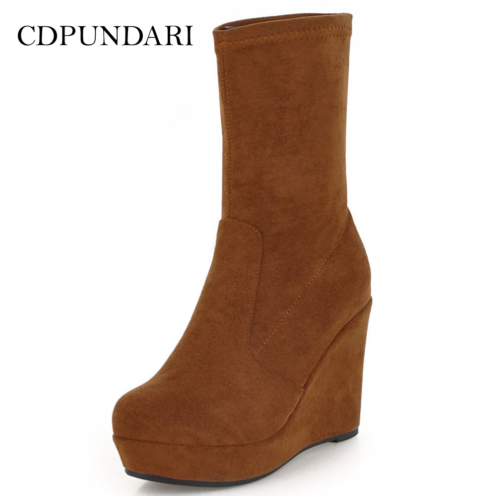 CDPUNDARI Super High heel Ankle boots for women Platform Wedges boots Ladies Winter shoes woman