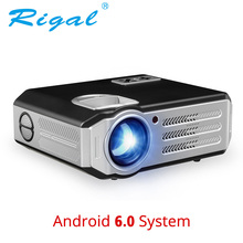 ФОТО rigal rd817 android 6.0 wifi projector 3500 lumens full hd 1080p home theater lcd beamer hdmi usb vga av video led lcd projector