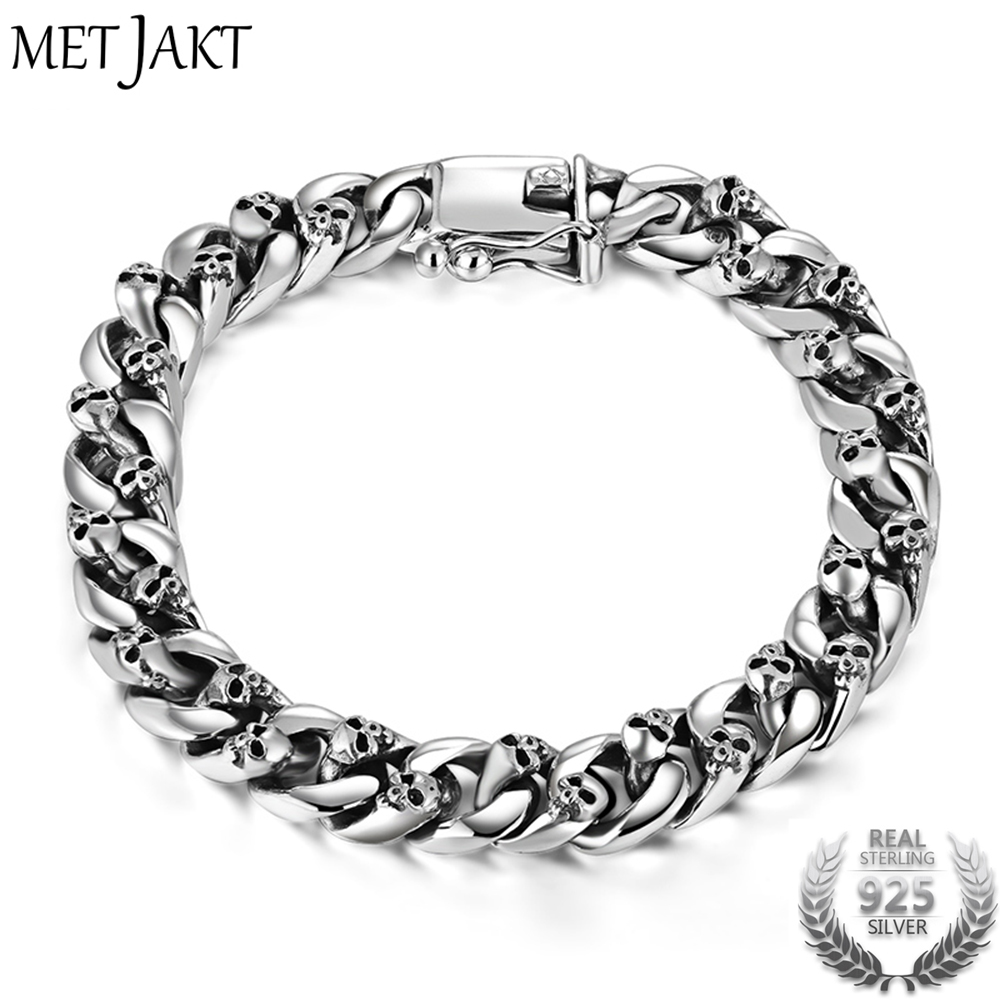 MetJakt Real 925 Sterling Silver 8mm Skull Bracelet Link Chain Men's Bracelet Vintage Thai Silver Punk Bracelet 18cm zabra authentic 925 sterling silver 8mm skull bracelet link chain mens bracelet vintage thai silver punk bracelets men jewelry