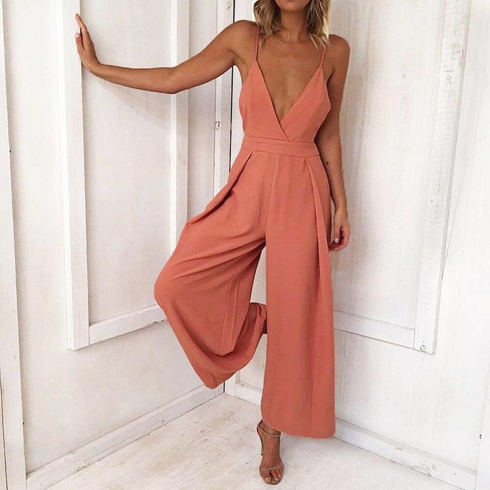 Для женщин сексуальный комбинезон летний 2018 Мода Глубокий Средства ухода за кожей Шеи сзади галстук-бабочка комбинезон сплошной широкие бр... ...
