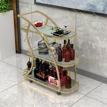 KTV Золотая трехуровневая тележка для чая, Винная Корзина для торта, стойка для ресторана отеля, мобильная столовая машина