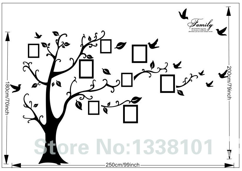 DIY Photo Tree PVC Wall Decals / Adhesive Family Wall Stickers 6