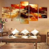 Fashion 5 Pcs Set Large Canvas Art Abstract Canvas Painting Color Cloud Wall Decor Pictures No