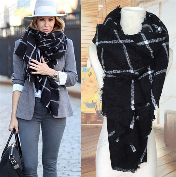0bd42b4b7 Lady Women fashion classic warm Blanket Oversized Tartan Scarf Wrap Shawl  Plaid Cozy Checked Pashmina