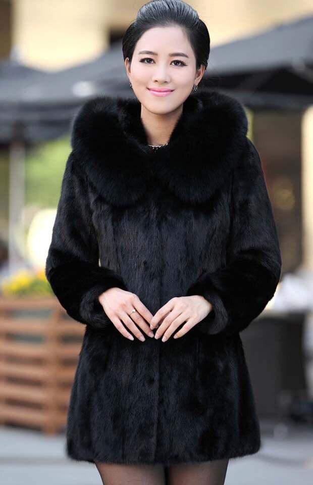 2018 luxe faux lapin fourrure manteau femmes hiver manteau mode à capuche FoxFur col moyen-long dame pardessus élégant femmes manteau 2xl