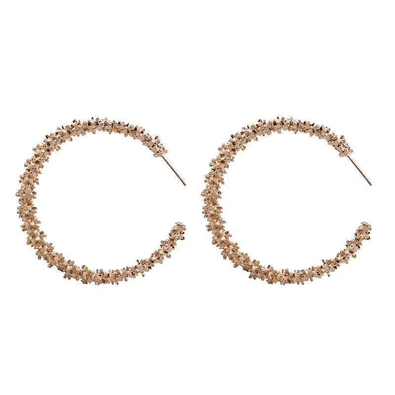 New Fashion Hot Selling Europe And America Spiny Personality Metal Circle Gold Silver Big Earrings Women Wedding Jewelry