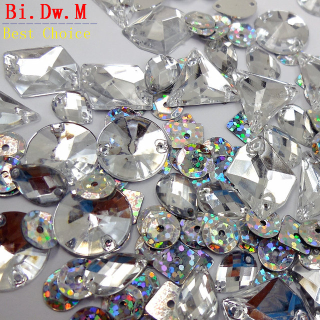 70badb16d72cf US $8.25 5% OFF|Rhinestones Round Triangle Drop Mixed Shape Silver Stones  and Crystals AB Sequins Strass Sew on For Sewing Accessories Crafts-in ...