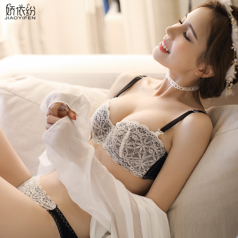 JYF Hot sale black sexy lace underwear   sets   1/2 cup   bra   panty   set   brand embroidery snowflake lingerie young girl   bra     brief     sets