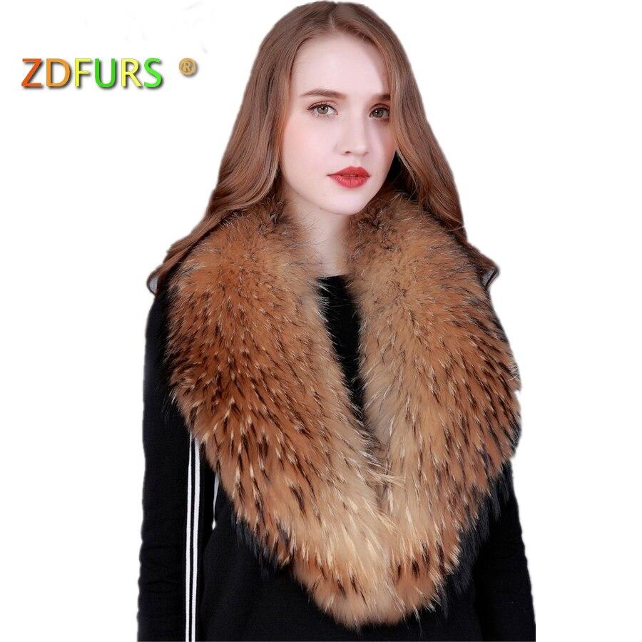 ZDFURS * Zimski 100% pravi naravni rakunast krzneni ovratnik ženski - Oblačilni dodatki - Fotografija 1