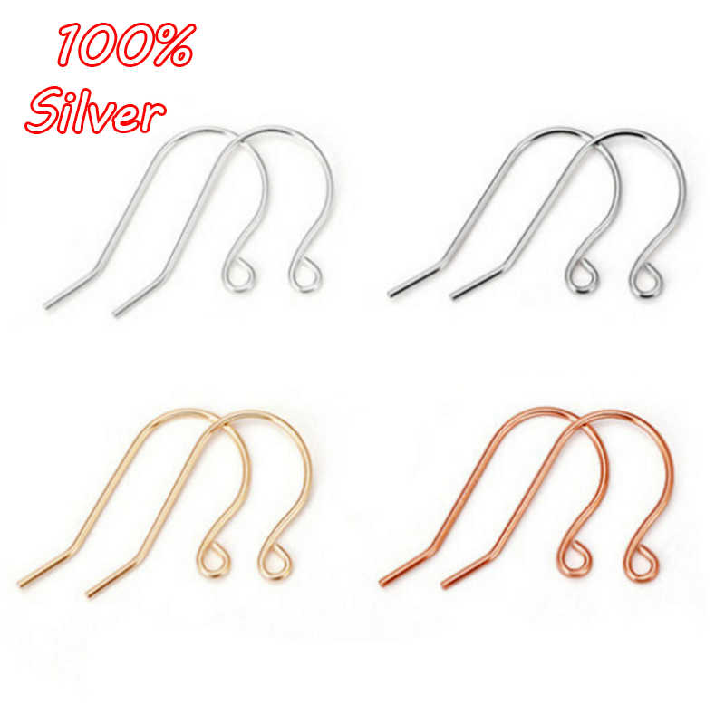 2pair 925 Sterling Silver 9 Shape Ear Hook Accessories Ladies Earrings Plated Gold DIY Sterling Silver Accessories Wholesale
