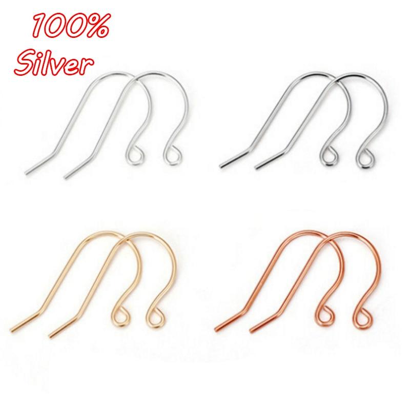 Wholesale 50PCS 925 Sterling Silver Earring Hook Ear Wire For Design DIY