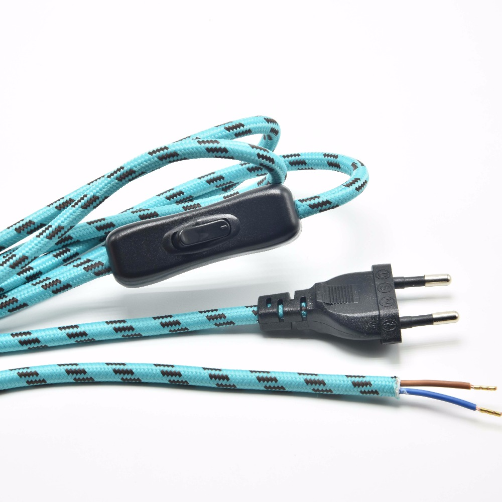2*0.75mm2 1.8M <font><b>EU</b></font> Plug Lamp Switch Braided Wire VDE Certified 304 Switch <font><b>AC</b></font> Lamp <font><b>Power</b></font> Cord with Switch Round Fabric <font><b>Cable</b></font> 1PC image