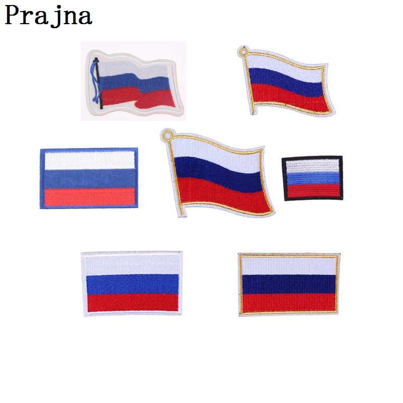 Prajna Flag Patches For Clothes Russia Armband RUS Badge Patriotic Logo Morale Military Embroidery Patches For Cloth Jean Bag
