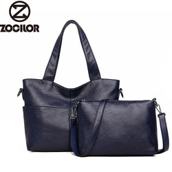 Women Handbag Leather Women Shoulder Bags 2 sets Famous Brand Designer Women Messenger Bags Ladies Casual Tote Bags sac a main