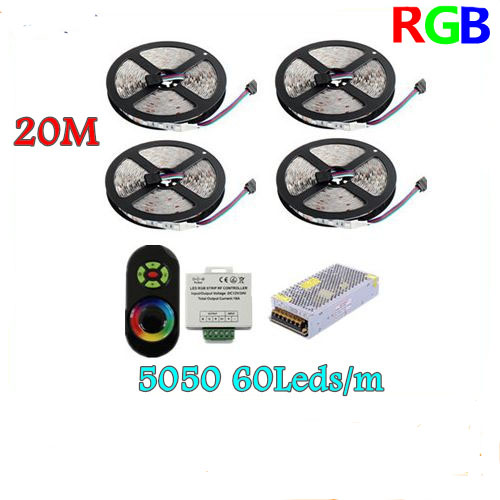 20M 5050 RGB strip light 60Leds/m SMD Flexible Led Strip+18A Wireless Touch Remote Controller+20A Power with tracking number wholesale 100sets lot led strip set smd 5630 60leds m flexible led light power adapter best quality