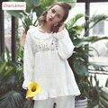 Fashion 3D Floral Embroidery Design Cotton Lace Princess Lounge Pajama Set Cute O- Neck Butterfly Sleeve Pyjama Sleepwear White