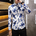 2016 spring College Style washing blue Flower printed shirts men white casual slim fit Floral shirts for men large size M-5XL