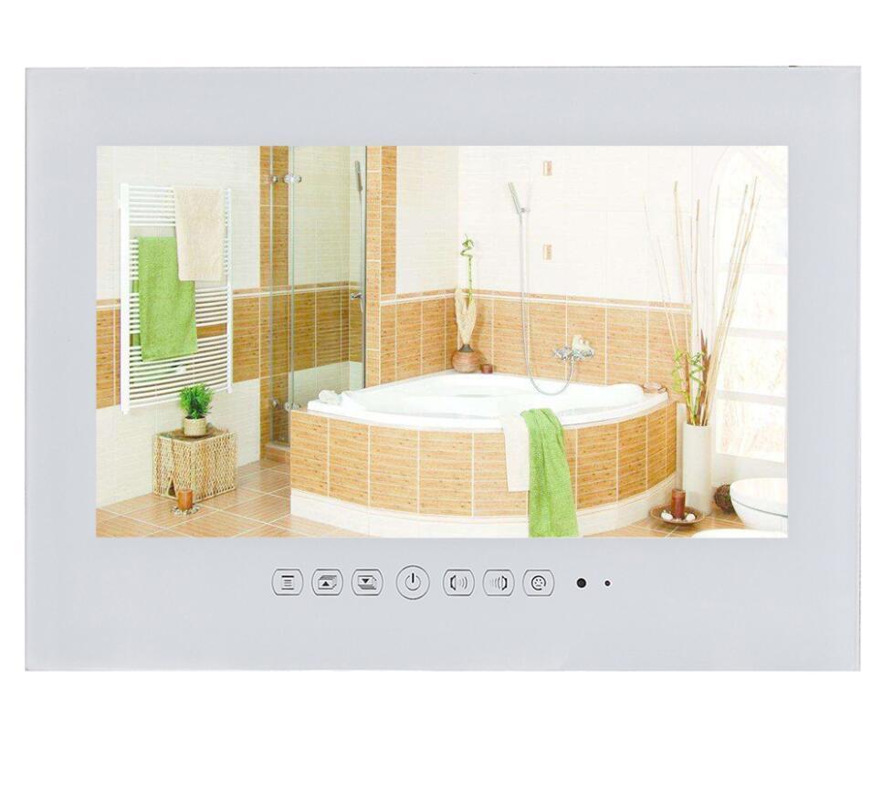 Souria 19 дюймов IP66 водонепроницаемый светодиодный телевизор для ванной комнаты водонепроницаемый настенный Телевизор с плоским экраном черный/белый Телевизор для душа - Цвет корпуса: White TV