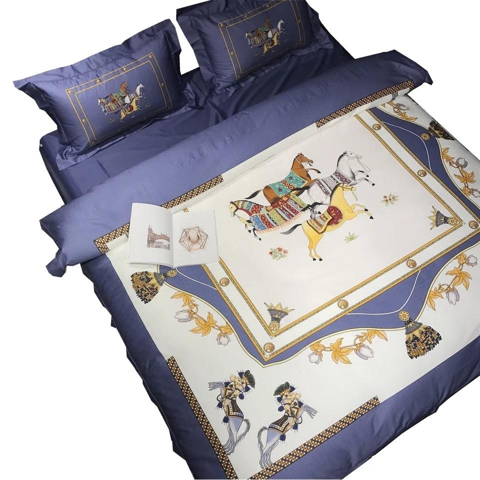 럭셔리 이집트 면화 유럽 하이 엔드 킹 퀸 사이즈 퀼트 웨딩 침구 세트 이불 커버 침대 시트 세트 베개 케이스 4pcs # s-에서침구 세트부터 홈 & 가든 의  그룹 1