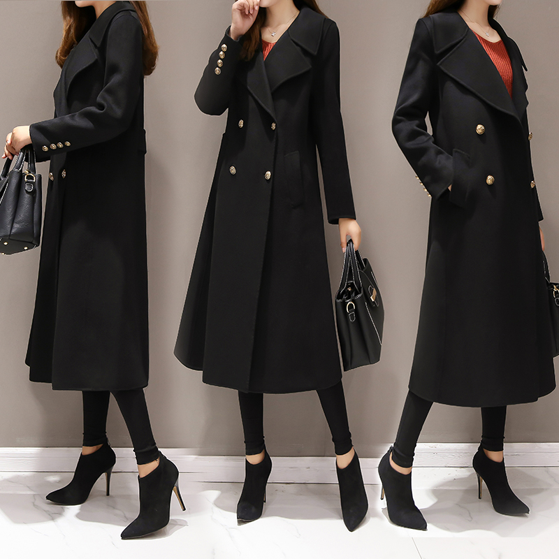 Large size 5XL Women's Wool Long Coats Korean 2019 New Fashion Double breasted Slim Warm Outerwear Coats Casual Winter Jackets-in Wool & Blends from Women's Clothing    2