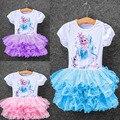 Новые платья Vestidos эльза платье дети снег детская одежда летней девушки кружевном платье принцесса эльза ну вечеринку платье