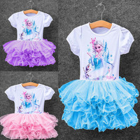 New Girls Dresses Vestidos Elsa Dress Kids Baby Snow Costume Children Clothing Summer Girl Lace Dress