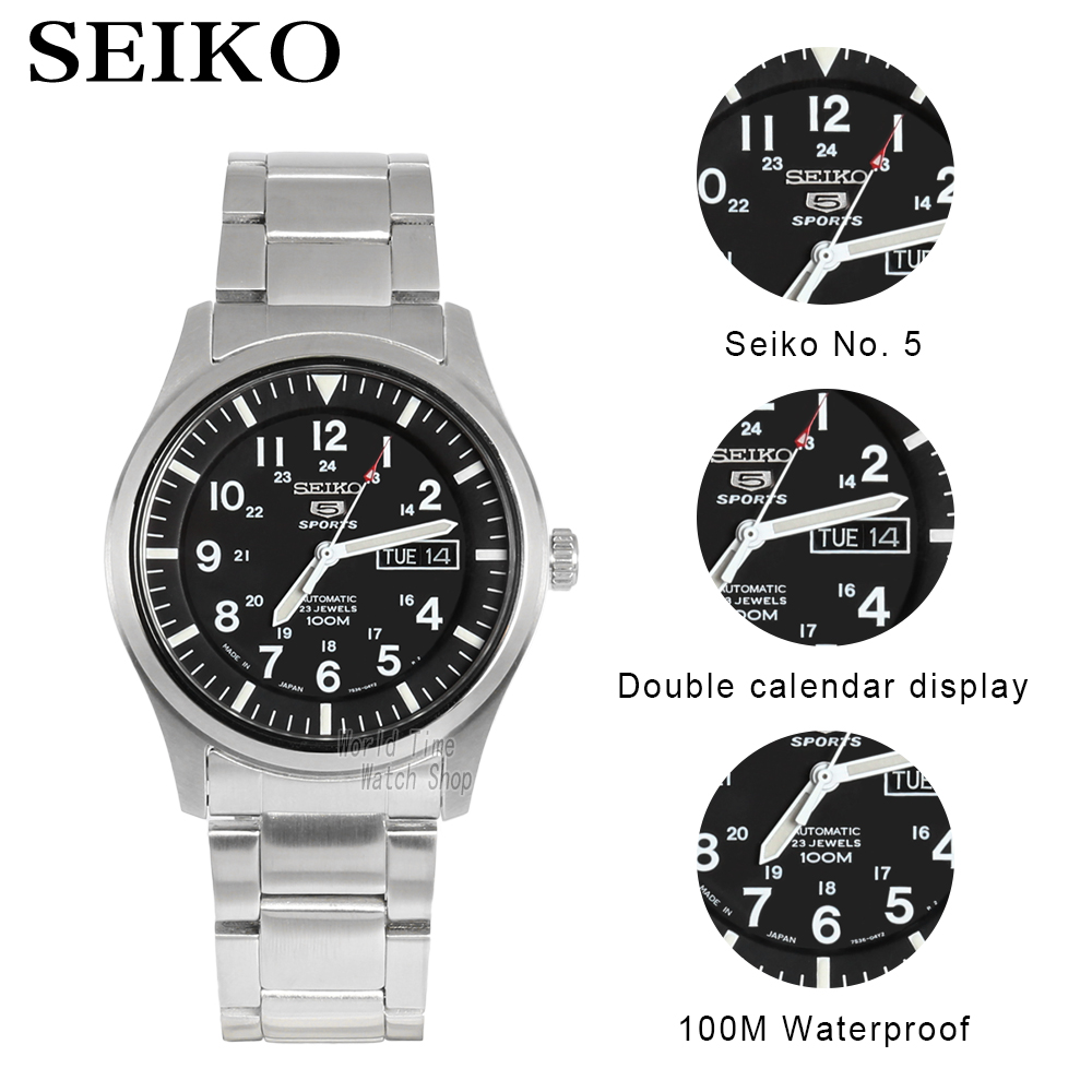 Image 2 - seiko watch men 5 automatic watch Luxury Brand Waterproof Sport Wrist Watch Date mens watches diving watch relogio masculin SNZG-in Sports Watches from Watches