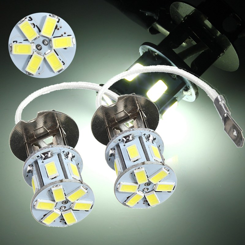 2pcs 5630 SMD 12 LED H3 HeadLight Lamp Super Bright White Fog Lights LED Bulb Car Head Lamp Light 12V Car Light Source Parking 2x car led 9006 hb4 5630 33 smd led fog lamp daytime running light bulb turning parking fog braking bulb white external lights