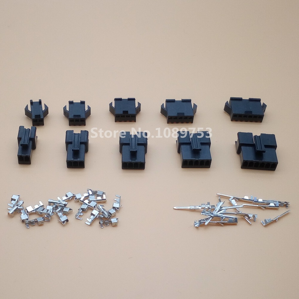 20sets JST 2.54mm SM 2/3/4/5/6 Pins Multipole Connector Plug With Ternimal Male And Female 5 sets el 9p small tamiya electronic connector 4 5mm spacing el 4 5 9p multipole connectors male and femal plug terminals