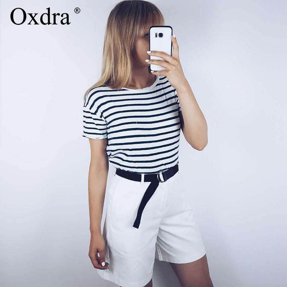 Oxdra 2019 New Solid Casual Women's   Shorts   High Waist Pockets Casual Summer   Shorts   Chic S-XXL Ladies Bottom