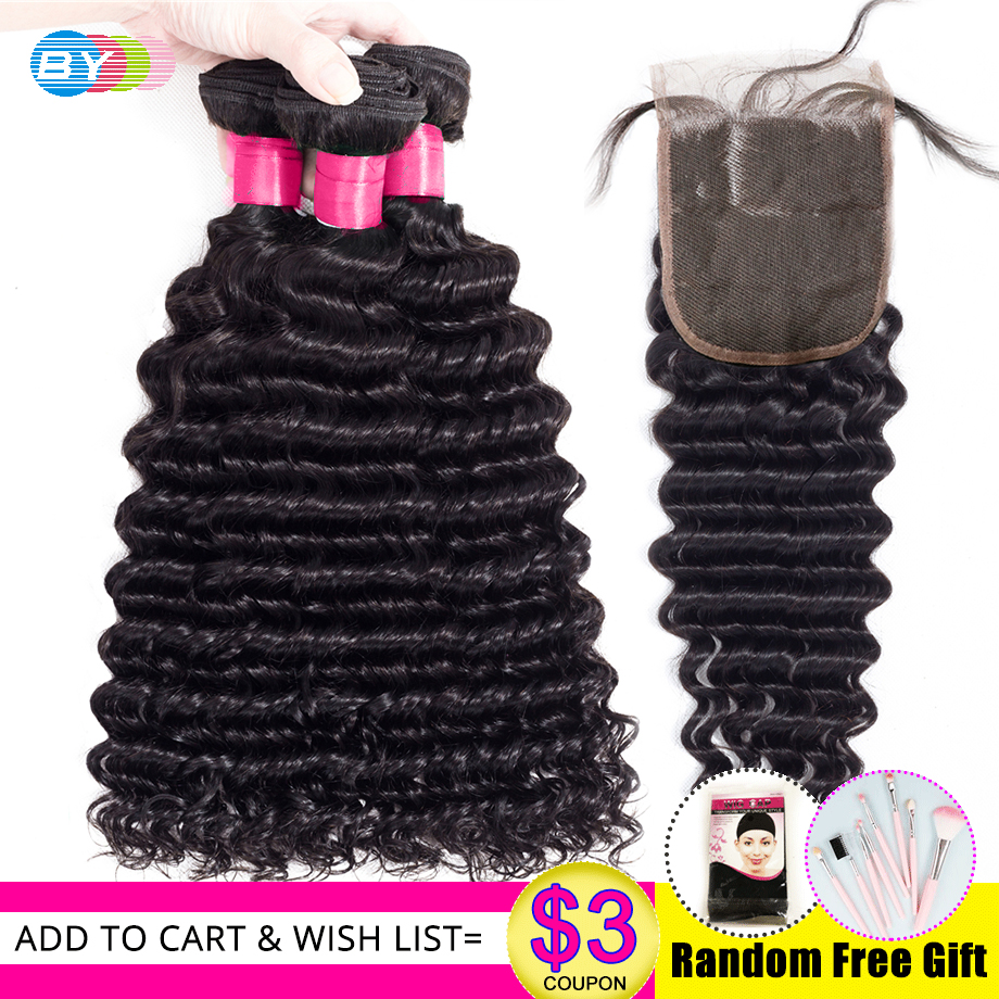 BY Peruvian Hair Deep Wave Bundles With Closure Human Hair Weave Bundles With Closure 3 Bundles