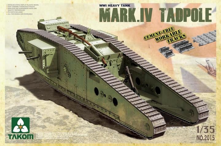 Takom 1/35 WWI Heavy Battle Tank Mark IV Male Tadpole w/Rear mortar #2015