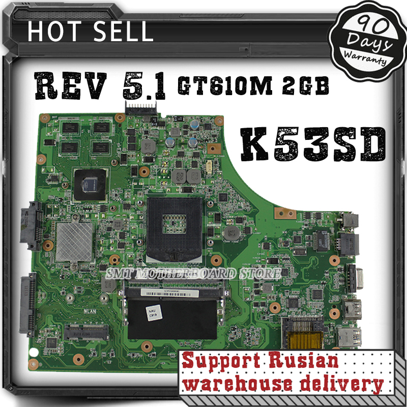 все цены на For Asus K53SD REV 5.1 laptop motherboard 60-N3EMB1300-025 Non-Integrated Graphics GT610M 2GB 100% tested онлайн